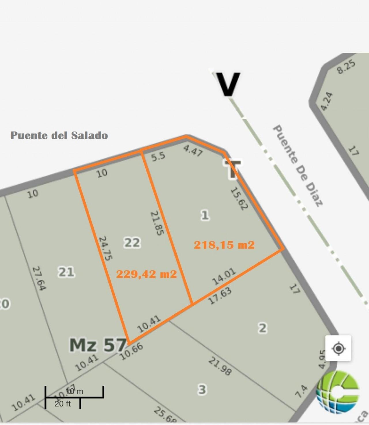 VENTA DE 2 LOTES JUNTOS O SEPARADOS EN GRAL. RODRIGUES LA ERMITA